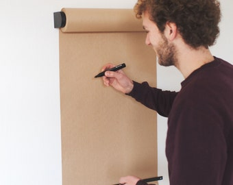 Wall Mounted Studio Paper Roller - Butcher Paper Roll Holder - Kraft Paper Dispenser - Café Menu Board - Hanging Daily Note Roll – BLACK