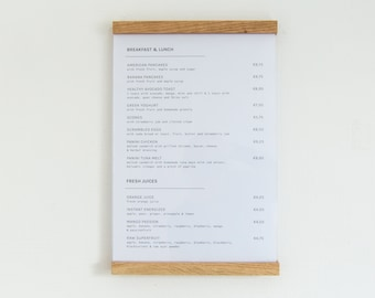 Minimalist Poster Frame Wood, A3 Poster Hanger, Hanging Menu Board, Bakery Menu Frame, Office Directory Office Wall Decor, Waiting Room Sign
