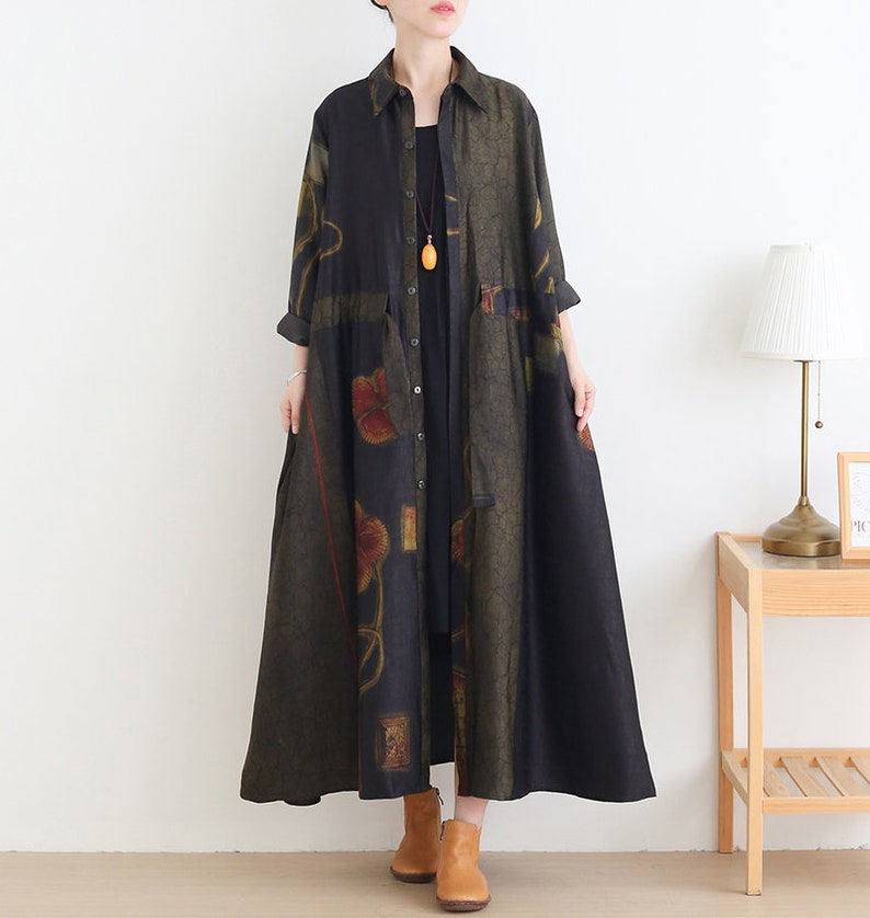 Autumn Dress Fall Dress Fall Outerwear Casual Dress Womens Autumn Loose Fitting Polo Collar Printed Floral Cardigan Dress With tie belt