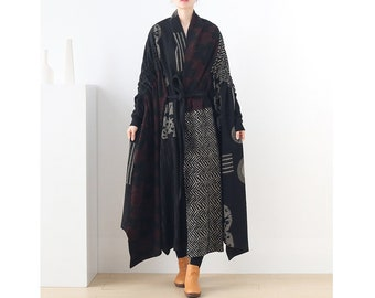 Womens Autumn Winter Loose Fitting Patchwork Irregular Printed Floral Outerwear With tie blet, Womans Casual Outerwear