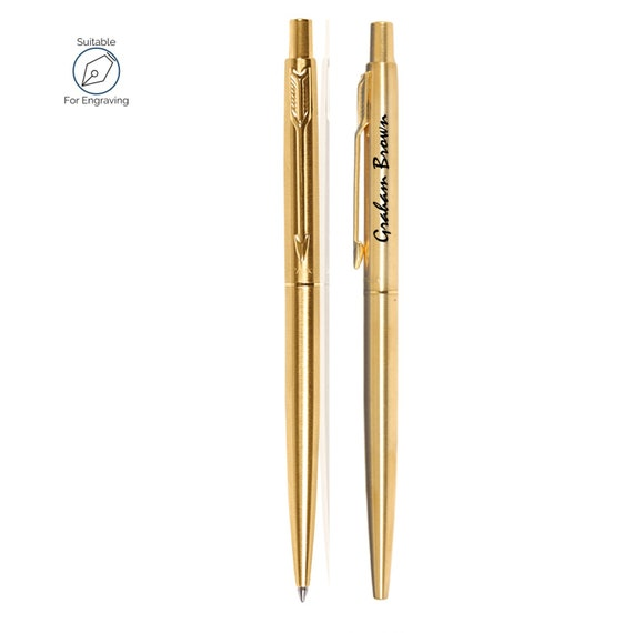 Personalised Engraved Parker Jotter Steel /& Gold Ballpoint Pen with Parker Pouch