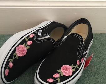 Pink rose embroidered black slip on vans cf3c5a0594b9