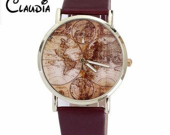 Claudia Reloj Mujer Women's World Map Leather Band Watch