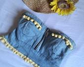 Headband top, heart shape, zip, elastic, denim, jeans, clothing, woman, pom poon, yellow, blue, sea, summer, top, band, pin-up,