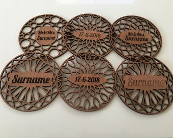 Wooden drink coasters now with free personalized gift box/coasters of wood/ideal as house warming gift/now with free box
