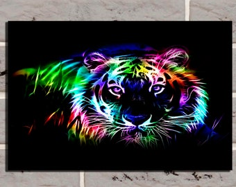 Abstract Poster Tiger Colorful art Abstract poster Tiger poster Tiger decor Tiger print Tiger art Tiger multicolor Colorful print Home decor