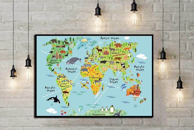 Children world map Children room décor World map print Map | Etsy