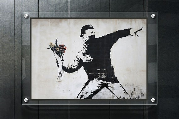 Banksy-Love is a Riot Flower Thrower Canvas Art Print