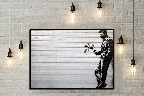 Man with flowers Graffiti art Bespoke gift Personalised poster Flower wall decor Graffiti boy Flower street art funny art Banksy print