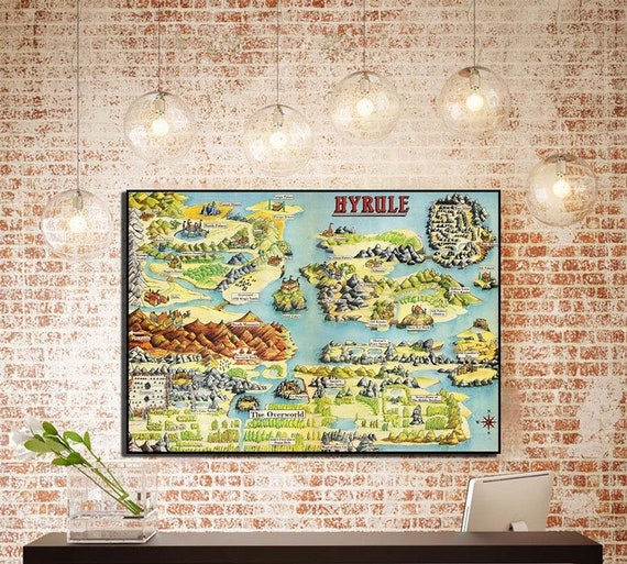 Legend Of Zelda Hyrule Map Zelda Poster Zelda Map Decor Zelda Etsy