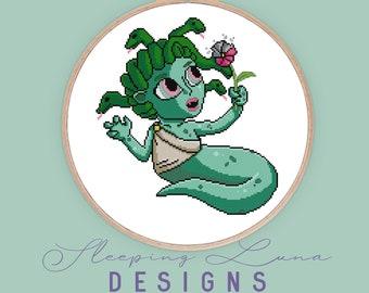 Baby Medusa - Cross Stitch Pattern - Modern Cross Stitch - Halloween Cross Stitch - Monster Cross Stitch - Horror Cross Stitch - Digital PDF