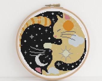 Luna and Apollo - Cross Stitch Pattern - Yin Yang Cross Stitch - Cats Cross Stitch - Sun and Moon Cross Stitch - Digital Download