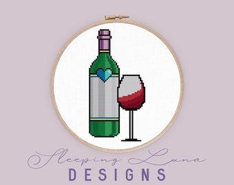 Wine and a Glass - Cross Stitch Pattern - Food Cross Stitch - Modern Cross Stitch - Wine Cross Stitch - Digital Download