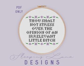 Thou Shalt Not - Cross Stitch Pattern - PDF Download - Modern Cross Stitch - Snarky Cross Stitch - Funny Cross Stitch - Floral Cross Stitch