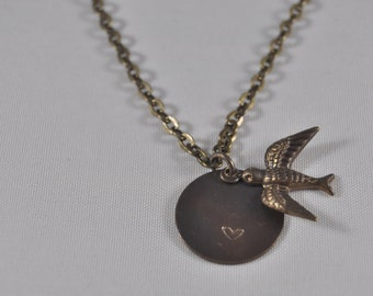 Antique Gold Plated Chain,Bird and Heart stamped disc pendant,Jewlery