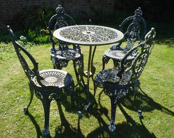 Cast Aluminium Vintage Garden Bistro Table And Chairs (UK Delivery Only)