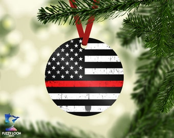 Firefighter Thin Red Line Christmas Ornament Christmas Decor Home Decor Christmas Firefighter Christmas Ornament Thin Red Line