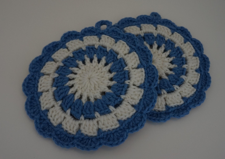 Crochet Pot Holder Blue Round Crochet Trivet Crochet Hot Etsy