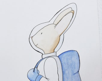 Nursery Animal Print. Watercolor Illustration. Watercolor illustration: Timéo astronaut rabbit.