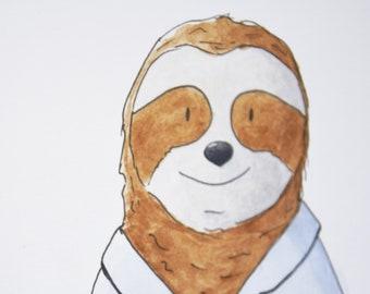 Nursery Animal Print. Watercolor Sloth Illustration. Watercolor illustration: Eugene, sloth.