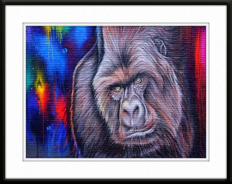 Gorilla Wall Art on Brick Vivid Colors Houston Giclée Art Print