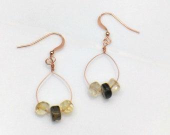 Citrine & Smoky Quartz Earrings