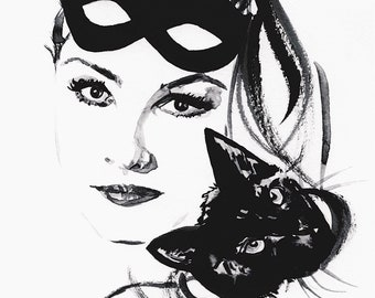 Catwoman Julie Newmar and Black Cat Black and White Ink Art By Elizabeth Yoo