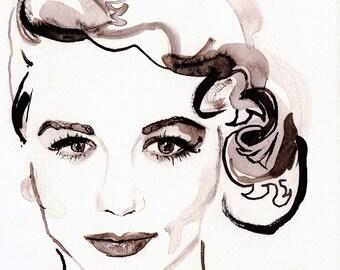 Dorothy Malone: Old Hollywood Actress ART L.E. Print by Elizabeth Yoo