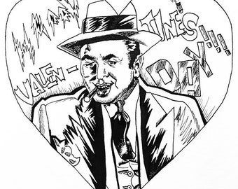 Al Capone Valentine's Day Gangster Noir Comic Book ART L.E. PRINT of 50 By Elizabeth Yoo