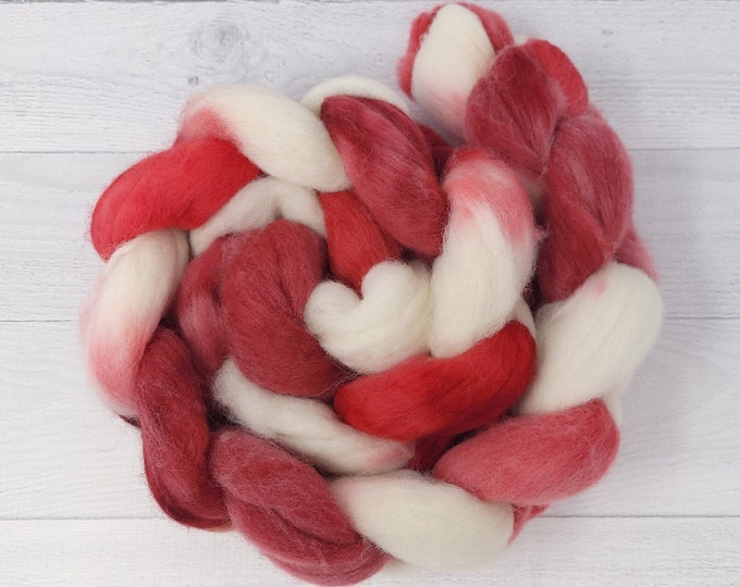 'Candy Cane' Polwarth Roving