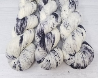 Cookies and Cream, hand dyed sock yarn, black grey white speckled sock yarn, sw merino nylon sock yarn, speckled sock yarn, black white yarn