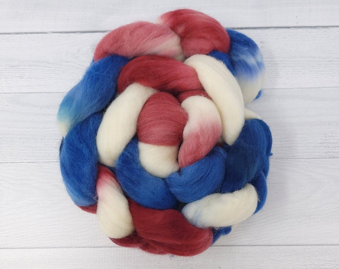 'Stars and Stripes' Polwarth or Merino roving