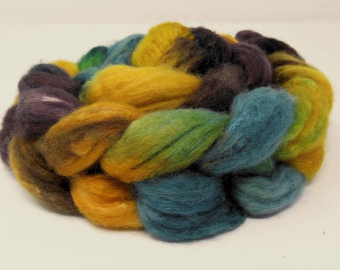 'Golden Plum' BFL/Tussah silk roving