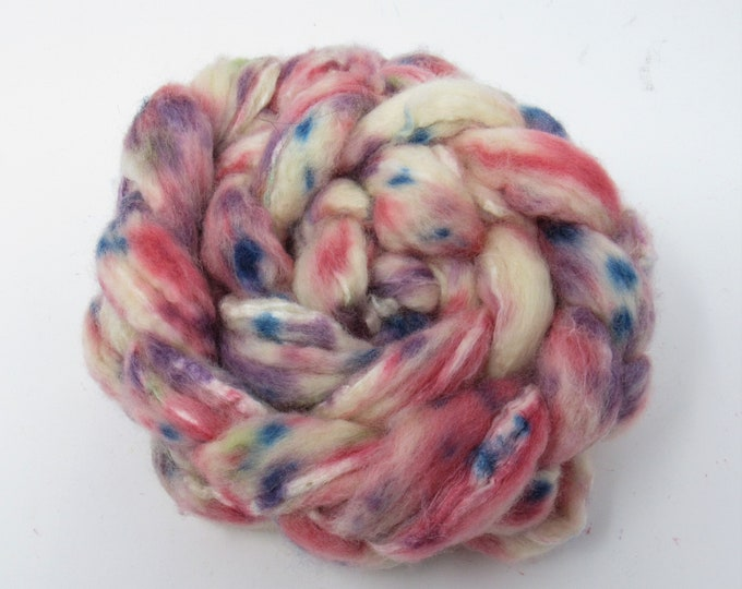 'Candy Buttons' BFL/Tussah silk roving