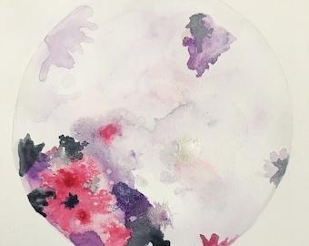 Watercolor Full Moon (9x12)--Pink/Purple