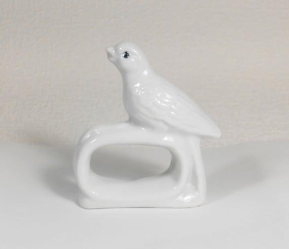 Handicraft Miniatures Collectible Ceramic Porcelain White Cockatoo Bird FIGURINE
