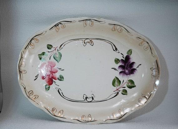 Large Vintage Turkey Platter Big Antique Ceramic Dish Etsy
