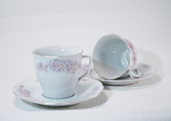 Porcelain China Set of 6 Teacups Tea Coffee Cups /& Saucers Silver Floral Band