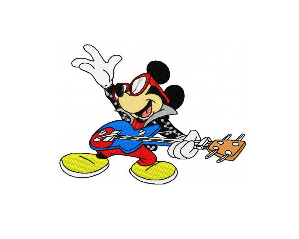 Diseño de bordado de estrellas de rock Mickey Mouse / diseños | Etsy