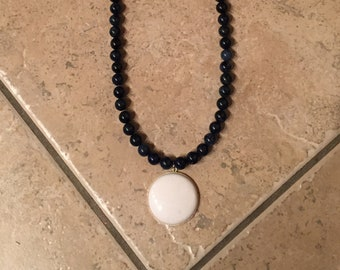 "Handcrafted Blue & White ""Night Sky"" Gemstone Necklace"