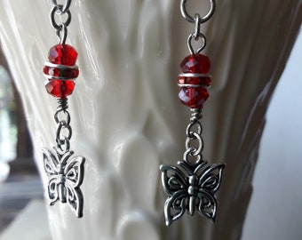 Red and Silver Butterfly Earring