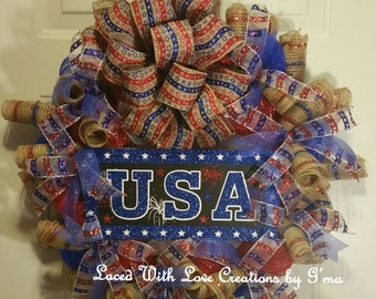 USA Red, White and Blue Patriotic Wreath