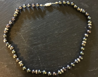 "17"" Black Pearl and Swarovski Crystal Necklace"