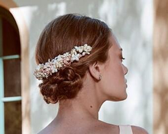 Bridal antique white silk flower headband