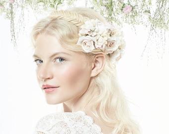Cream white silk flower clip