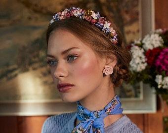 Cornflower blue, pink and white silk flower headband
