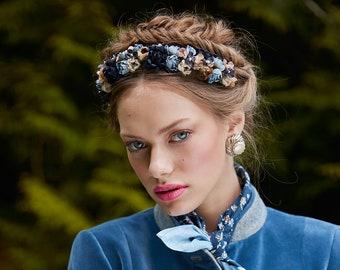Blue beige silk flower headband