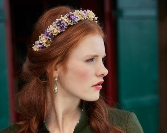 Very natural dried and silk flower crown in violet and creme white