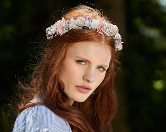 Romantic pink, blue, white and lilac flowercrown