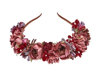 Must-have flower headband in wine red and taupe